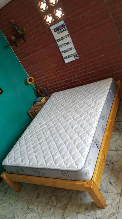 Base Cama Madera y Colchon Doble Ortopedico