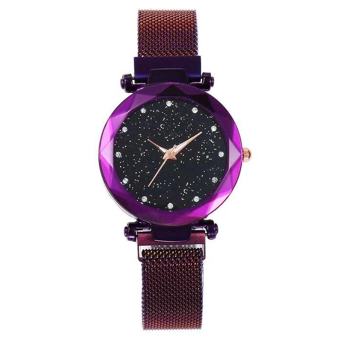 Reloj imantado de moda morado oro rosa