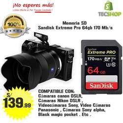 Memoria SD Sandisk Extreme Pro  64 GB 170mb/s  U3 UHS-I 4K Profesional