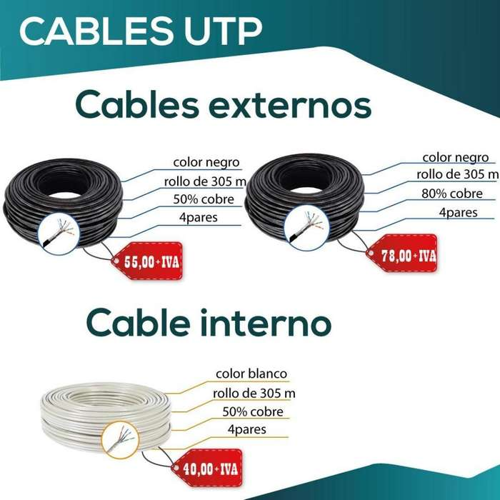 CABLE UTP. INTERIOR. EXTERIOR. INTERNET. CCTV. 50% COBRE. CABLE NEGRO.