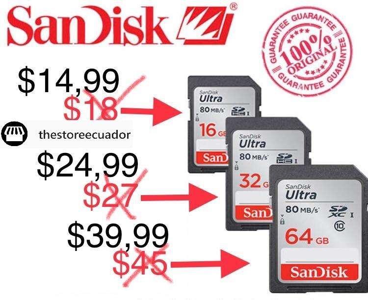Memoria Sandisk Ultra 16gb Hasta 80mbs Sdhc Para Camara Canon Nikon Sony