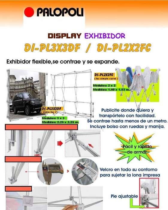 Porta Banner Display Exhibidor Letrero Punto de Venta 2,25x2.25m Para tela Con Bolso y Luz Palopoli Doble Faz