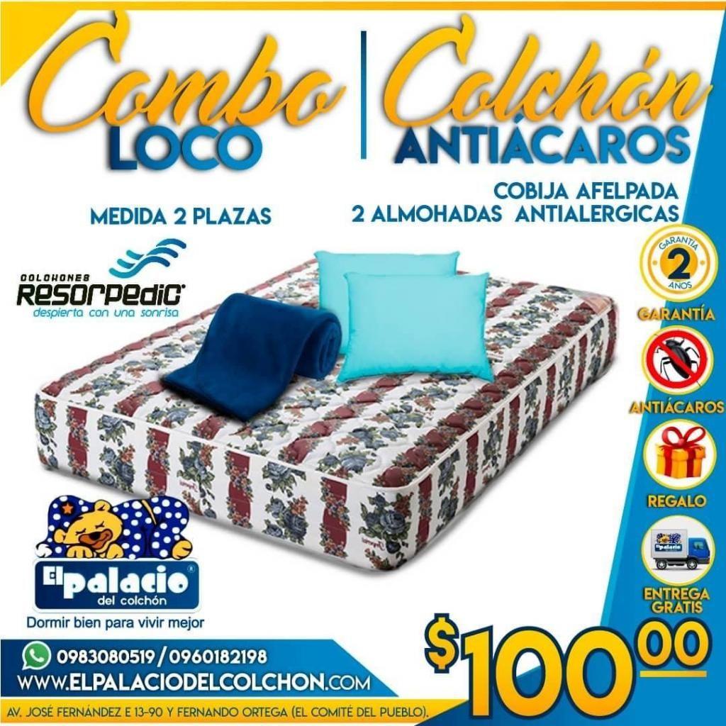 ((*OFERTON*)) COLCHONES ANTIACAROS 2 PLAZAS Mas SABANAS Mas ALMOHADAS, ENVÍO ((*LLAME 0983080519 Palacio Del Colchón*