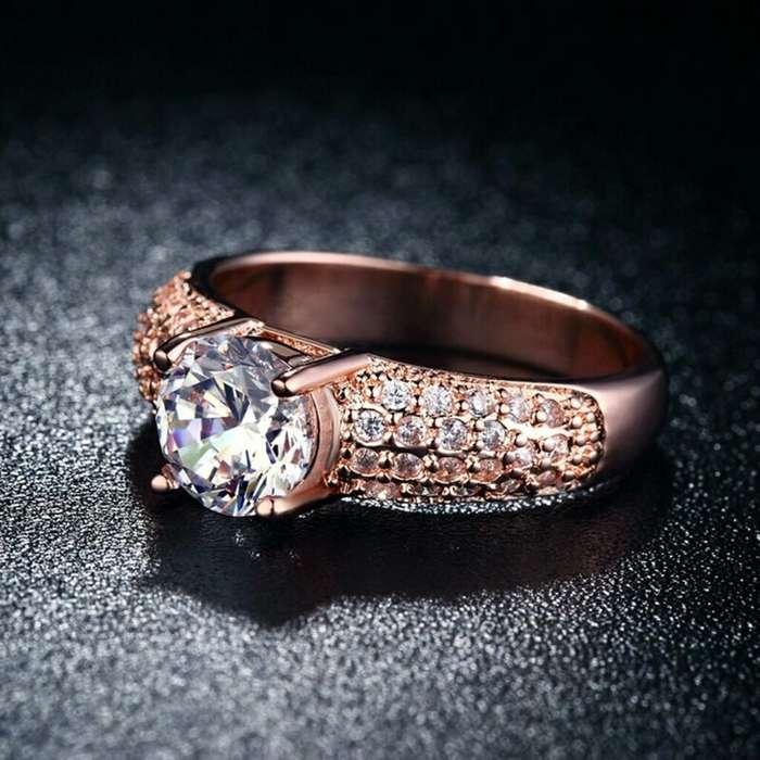 Anillo de amor oro 18k con diamantes de Austria Pareja Matrimonio Mujer Lujo