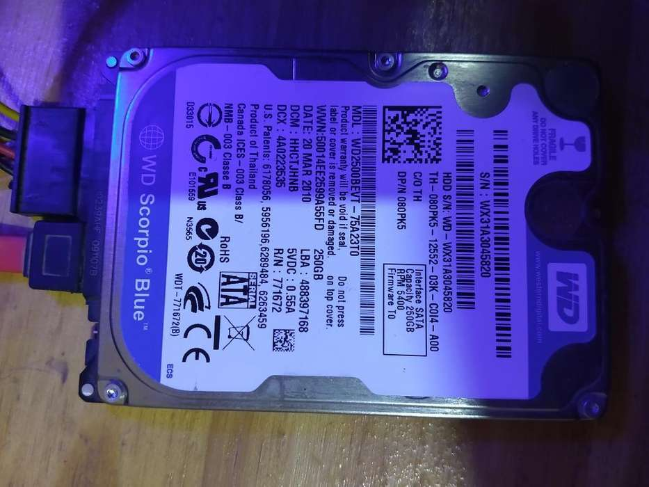 Disco Rigido 250 Gb para Notebook