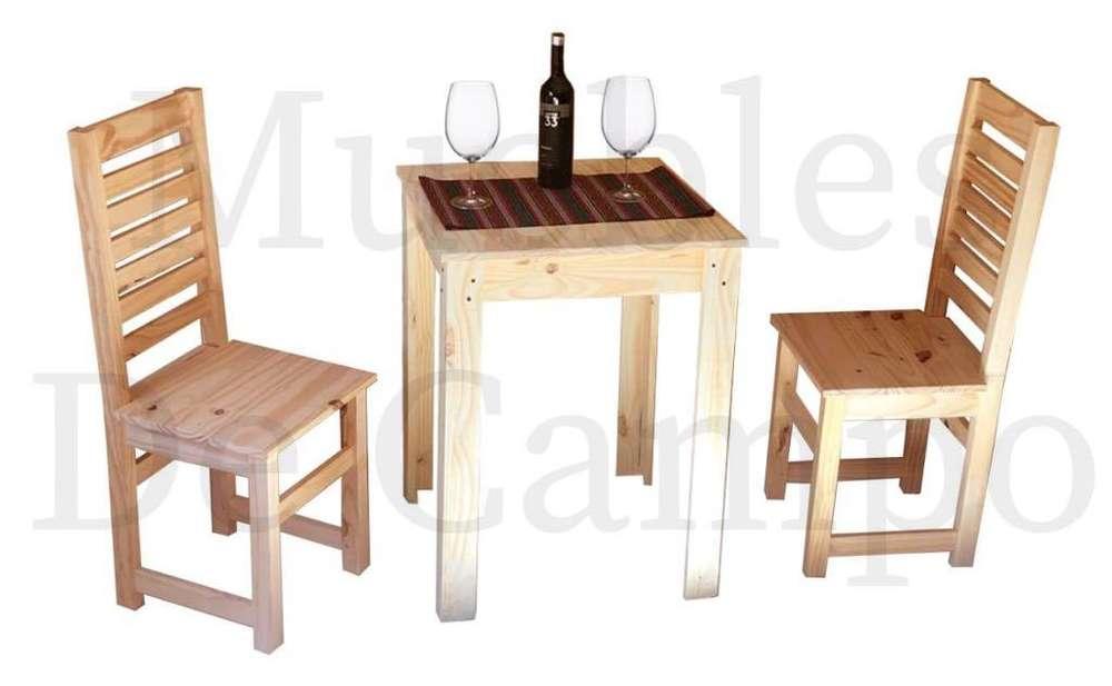 mesa de pino 60x60 pata en L 2 sillas reja