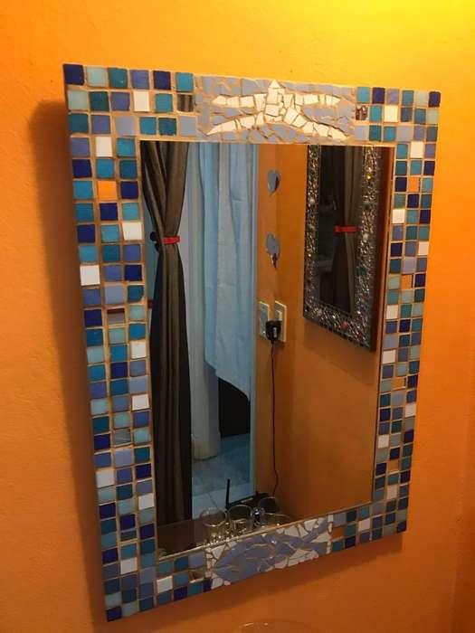 Espejo de Venecitas Y Madera 50 X 70