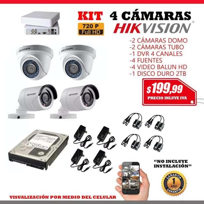 kit 4 cámaras hikvision. CCTV. Kit CCTV. <strong>video</strong>vigilancia. Camaras Hd Monitoreo