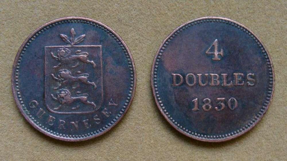 Moneda de 4 doubles Isla de Guernsey 1830