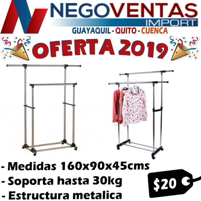 ROPERO DOBLE TUBO ESTRUCTURA METALICA PARA HOGAR NEGOCIOS ETC