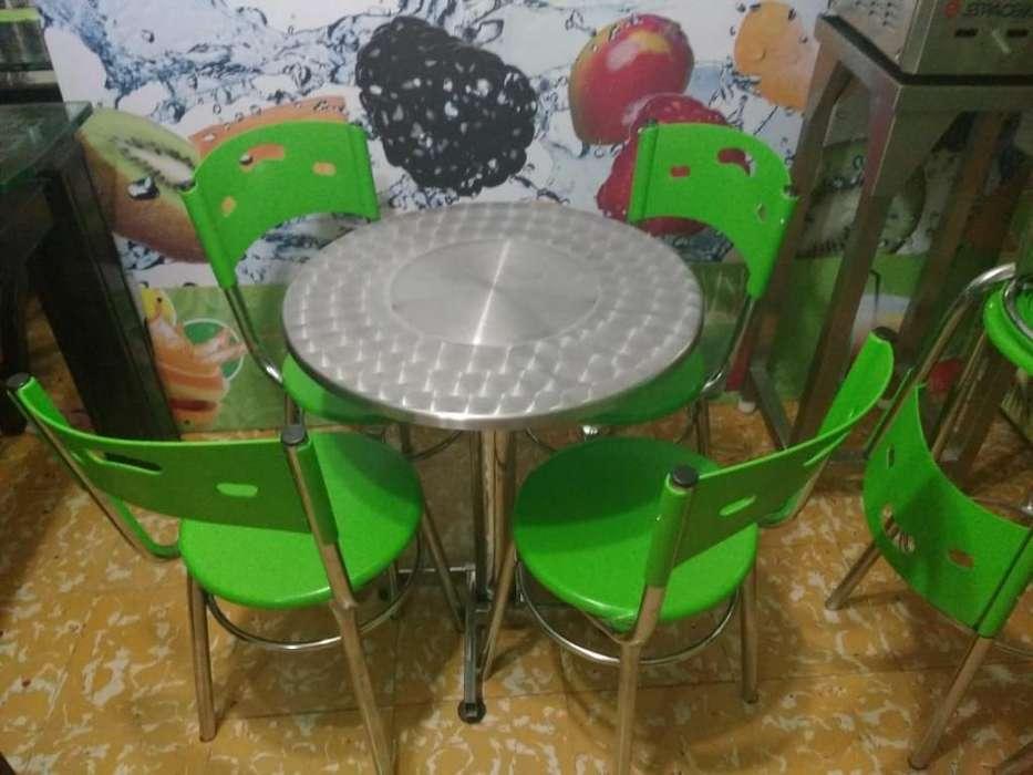 Mesa en Acero Inoxidable con 4 <strong>silla</strong>s Pl