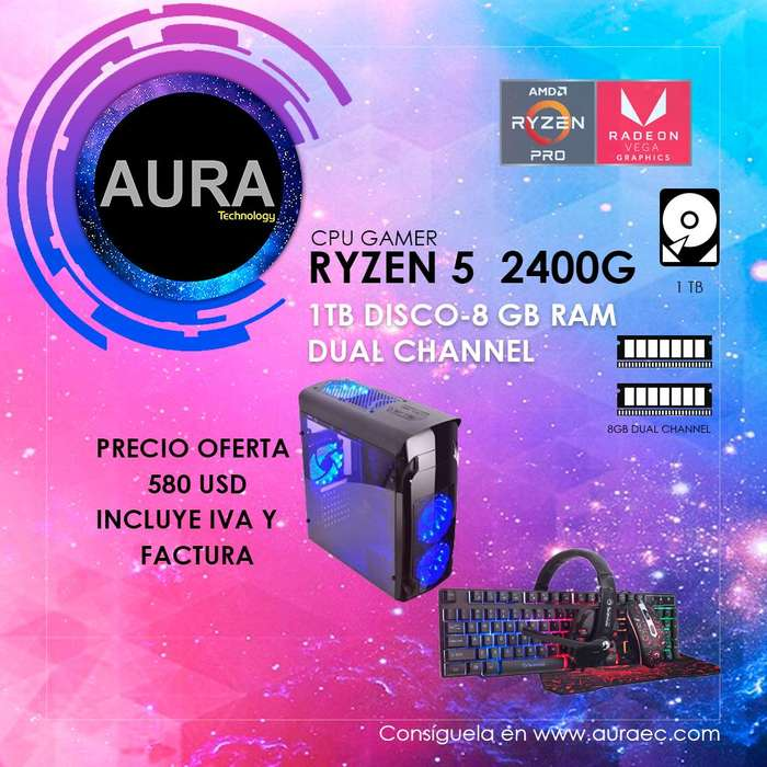 Cpu Gamer Ryzen 5 2400g Graficas Radeon Vega