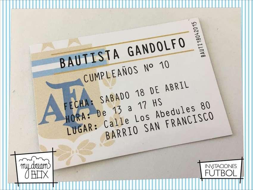 Souvenir Tarjetas Invitacion Futbol Cumple Infantil Evento