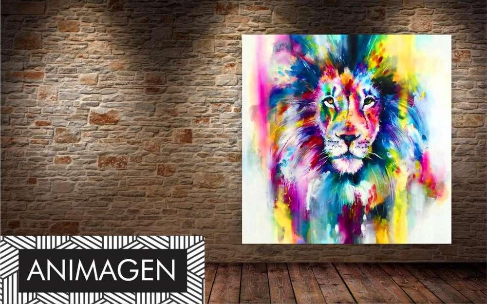 león en tonos acuarela moderno 9862