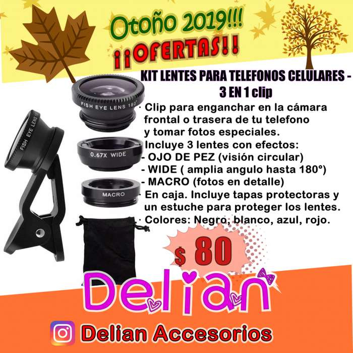 Kit Lentes Celular 3 EN 1 clip: Ojo De Pez Gran Angular Macro. Universal Clip Lens