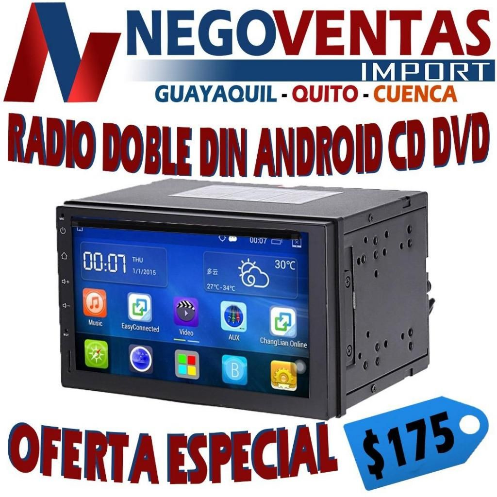 RADIO ANDROID FULL TOUCH CD DVD USB SD AUX BT GOOGLE MAP