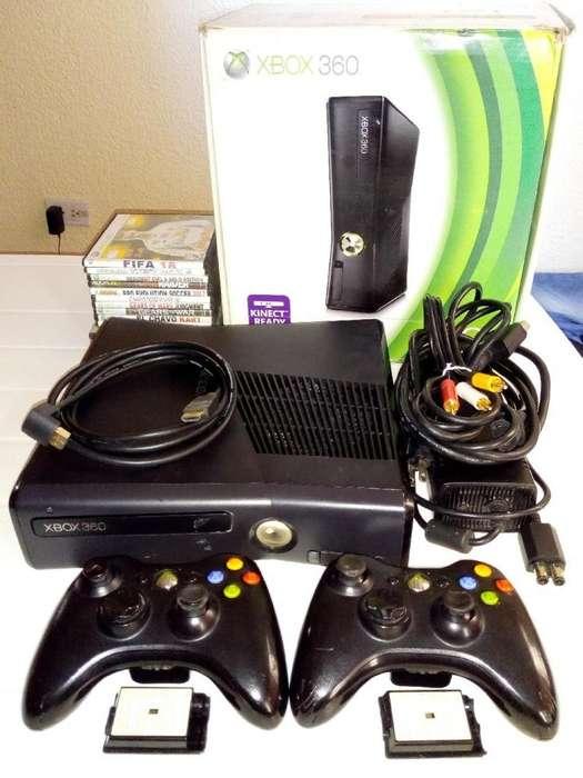 Xbox 360 Slim, chip 3.0, 2 Controles, 16 Juegos, sus Cables y Caja, a toda prueba