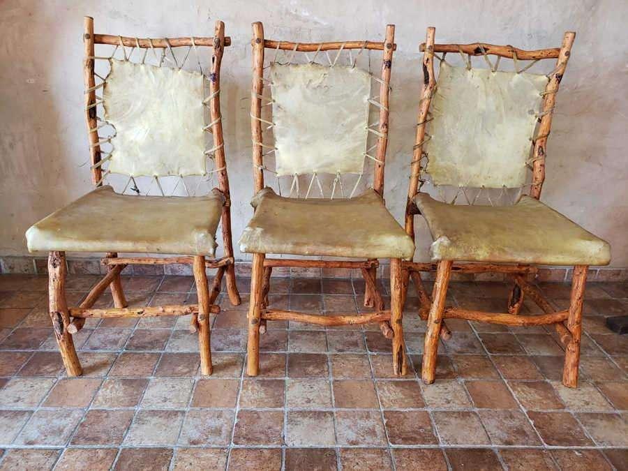 Juego 6 <strong>silla</strong>s Rústicas estilo Campo Chañar Y Cuero Crudo TodoAB