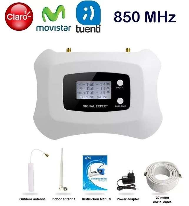 KIT AMPLIFICADOR SEÑAL CELULAR BANDA 850MHz 3G 70dB MAS ANTENA OUT. 3dBi CABLE 20m MAS ANTENA IND. OMNI 3dBi