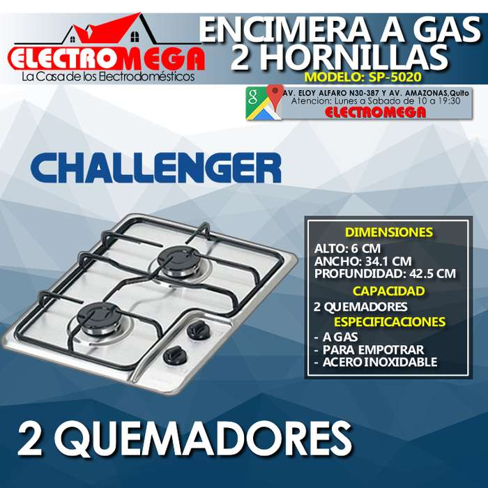 Cocina Encimera A Gas Para Empotrar Challenger 2 Quemadores