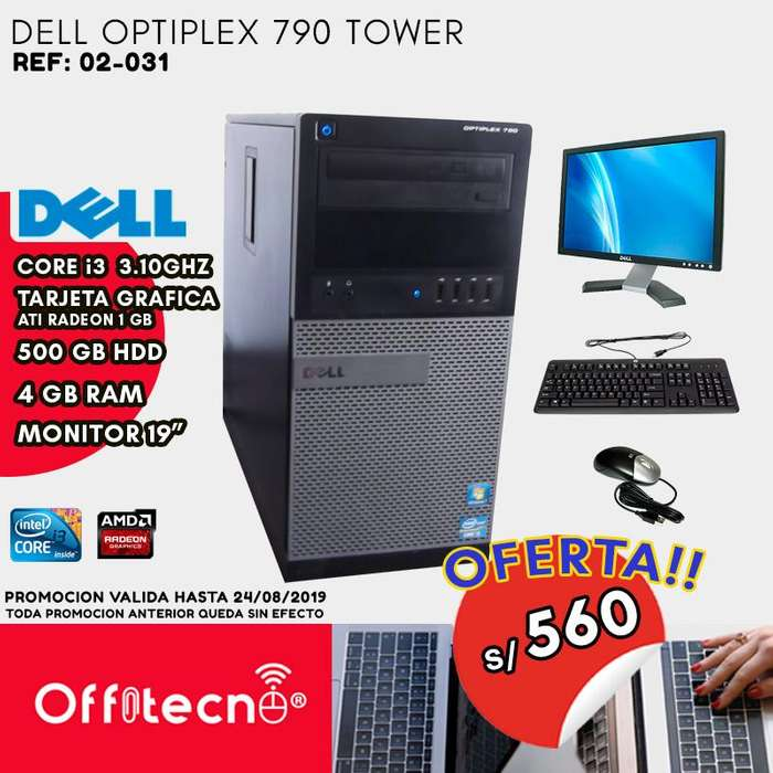 COMPUTADORA COMPLETA DELL OPTIPLEX 790,CORE i3 Gen 4 GB RAM,500 GB HDD