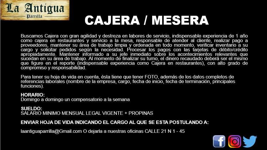 OFERTA DE EMPLEO / MESEROS / CAJEROS / PARRILLEROS / COCINEROS