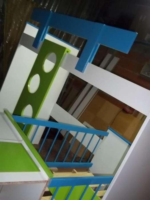 Cuna funcional <strong>cama</strong> puente escalera baranda colores a eleccion