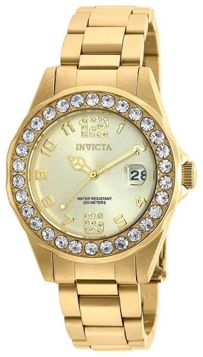 Reloj Invicta de mujer chapado en oro cristales. Relojes Fossil Guess Bulova