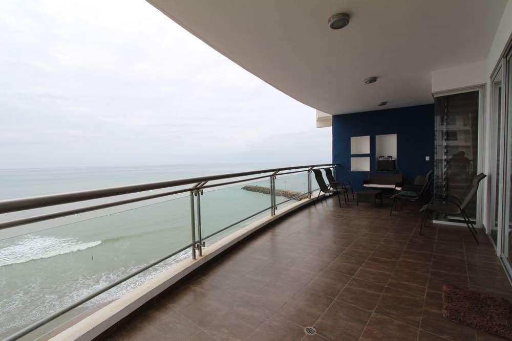 Se alquila departamento amoblado frente al mar en Barbasquillo, Manta