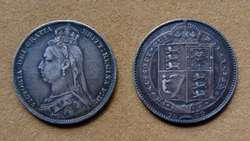 Moneda de 1 chelín de plata Gran Bretaña 1887