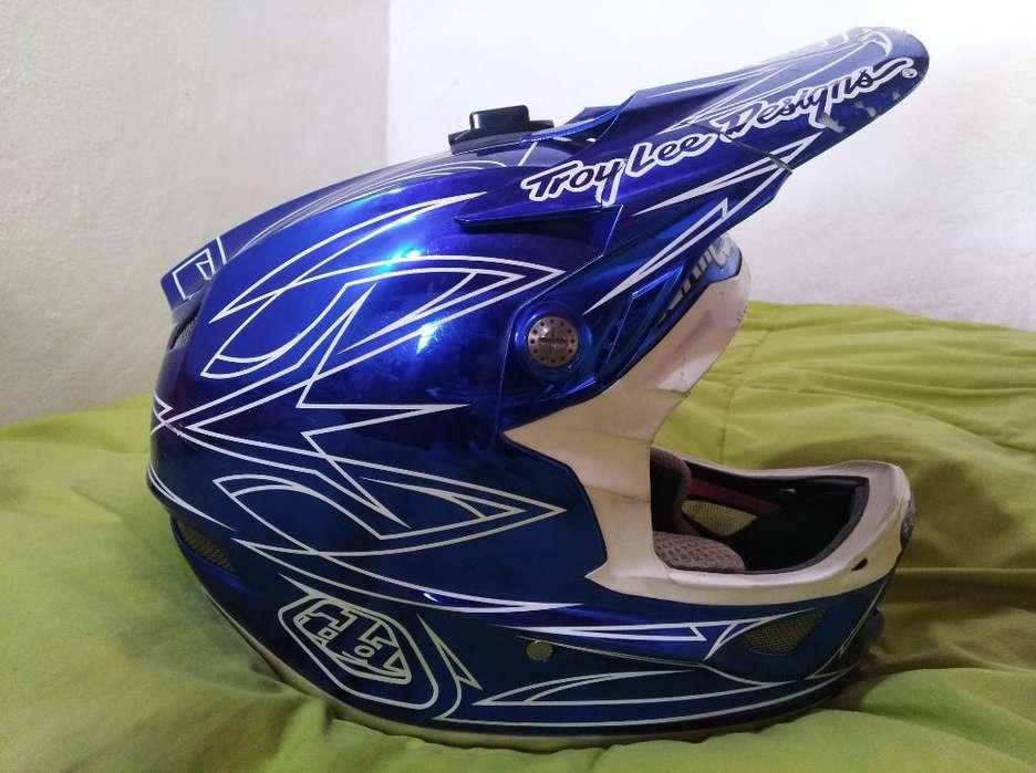 Casco Troy Lee Designs D3 Azul Cromado