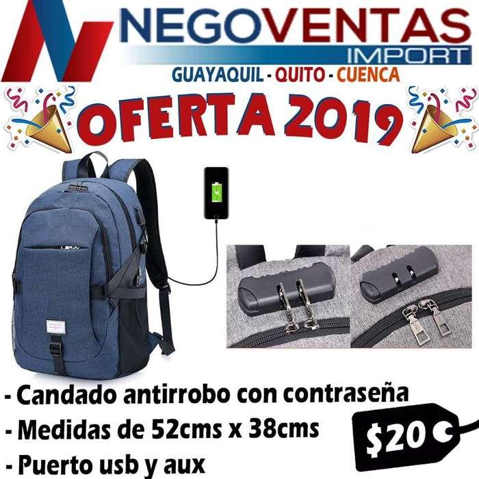 MOCHILA ANTIRROBO CON CONTRASEÑA USB Y AUXILIAR