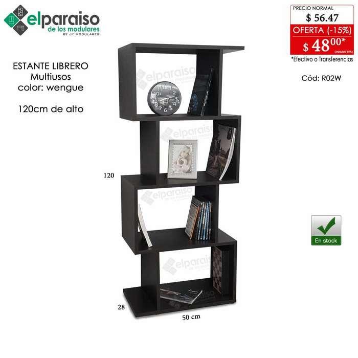 Librero estante, acabados ambos lados, multiusos, archivador, organizador modular, 120cm y 148cm de alto