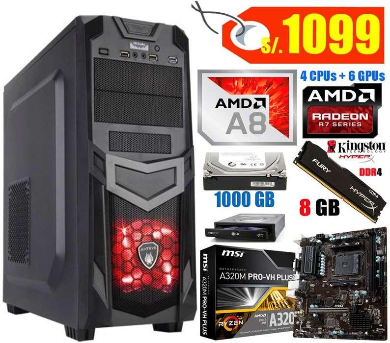 Computadora AMD A8 Quad Core, 7ma. Gen. Todo Nuevo!