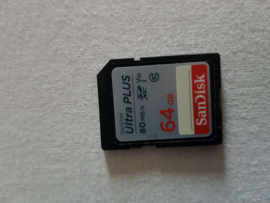 Memoria De Canon Nikon Sd 64gb Sandisk Clase10 80 Mbps
