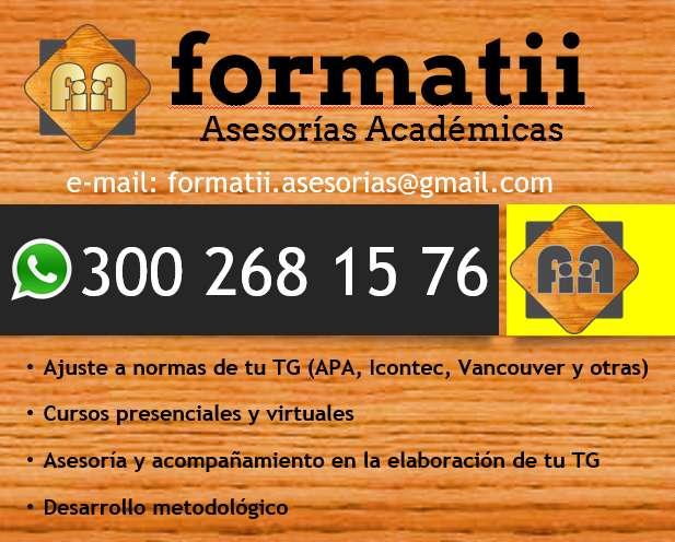 Asesorías académicas: tesis, trabajos de grado, ajuste norma APA, Icontec y similares, corrección de estilo