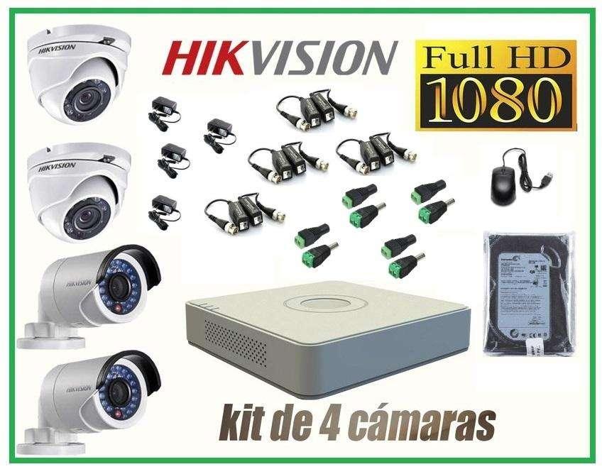 Cámaras Seguridad HikVision Kit 4 FULLHD 1080p