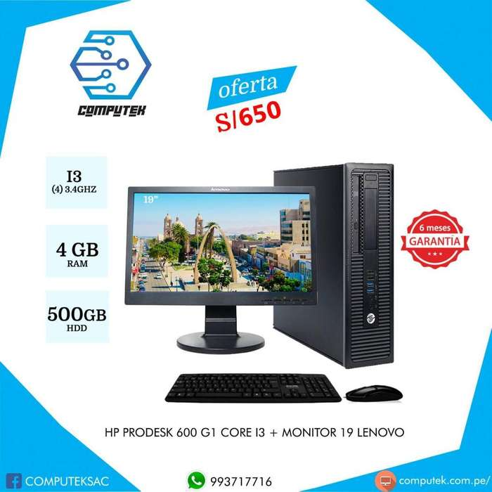 Hp Prodesk 600 G1 - Core i3 4ta Gen, 3.4Ghz, Ram 4 Gb, HDD 500 Gb Monitor 19 - S/650