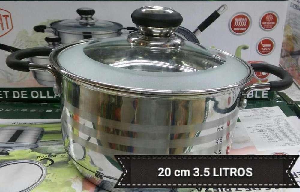 Olla 20cm 3.5 litros acero inoxidable para cocinas a induccion , gas , electricas etc 7 capsulas