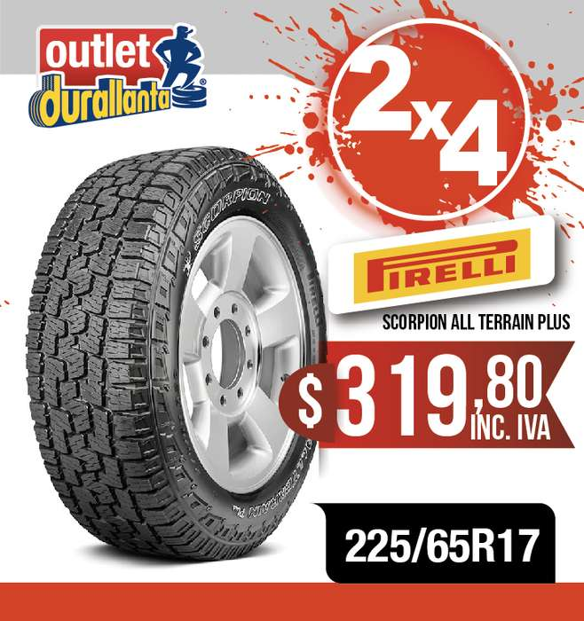 LLANTAS 225/65R17 PIRELLI SCORPION ALL TERRAIN PLUS GRAND VITARA SZ X-Trail CLASSIC MT XTRAIL SENSE Rav4