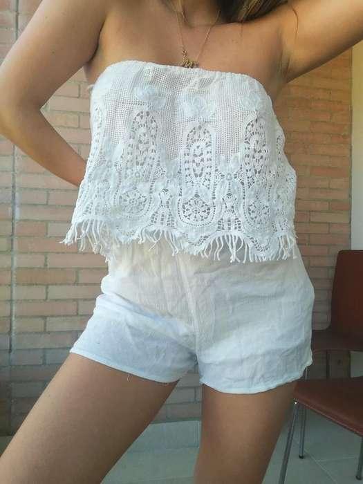 Enterizo Strapple Blanco Bershka Talla M