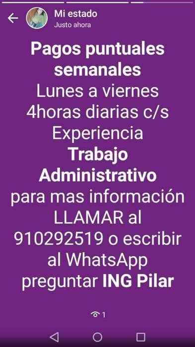 Trabajo Administrativo1/2 Tiempo L-v