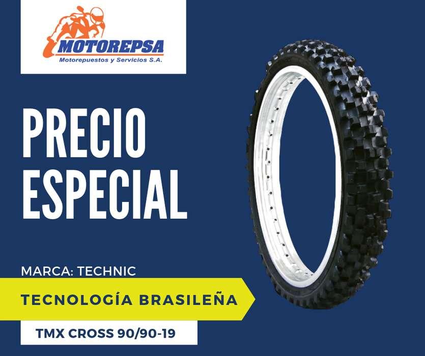 <strong>llanta</strong> TECHNIC TMX CROSS 90/90 18 para Moto HONDA CG 125/160, CBX 150/200, SUZUKI