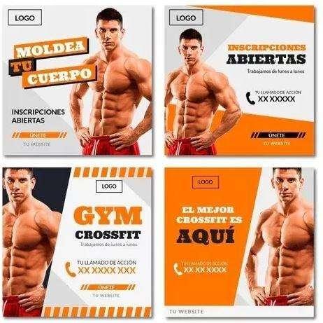 Set De 4 Banners Para Gym Gimnasio Publicidad Redes Sociales Web
