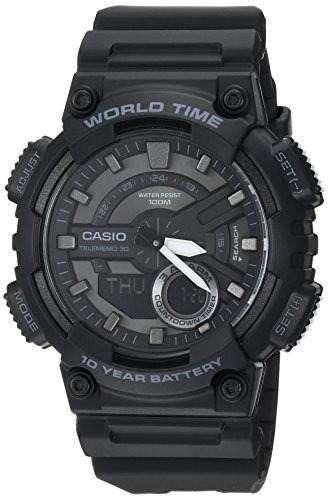 """Casio """"CLASSIC"""", reloj casual de cuarzo y acero inoxidable, color negro para hombre (modelo: AEQ-110W-1BVCF) NUEVO"""