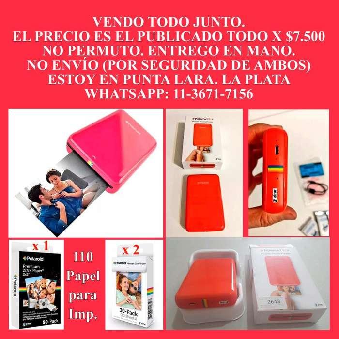 Impresora Portátil Polaroid Zip Roja Bt Nfc Bolsillo 110 unidades de Papeles de repuesto