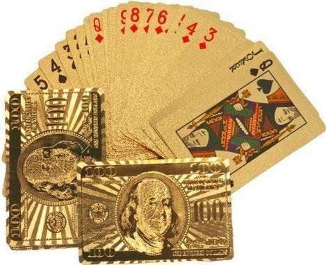 Baraja De Naipes Cartas Dorado Poker De Lujo Ultra Fino