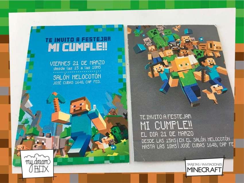 Tarjetas Invitacion Personalisaca Minecraft Cumple Infantil