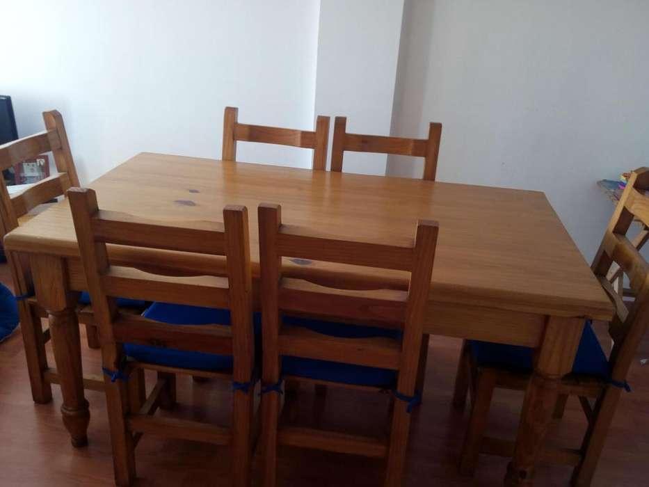 Mesa De Comedor 6 Sillas 160x 90 Cm Pino Macizo