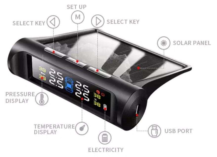 Sensor Solar Para Comprobador De Presión De Neumáticos. TPMS